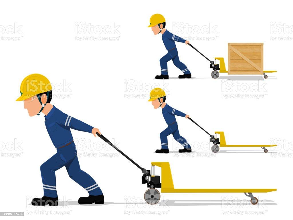 worker is pulling pallet truck vector art illustration