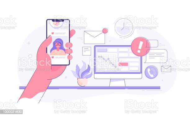 Worker is surfing photos on his phone on social media while seated at vector id1000031830?b=1&k=6&m=1000031830&s=612x612&h=vq udh5m 79fepia6vaadkjrsjenqtptu vww11sasc=