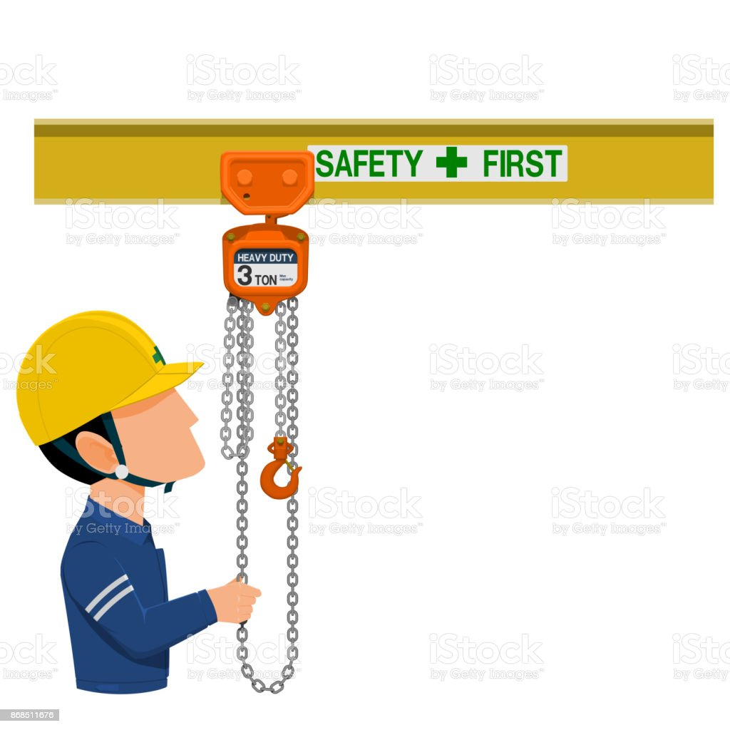 worker is using a hoist vector art illustration