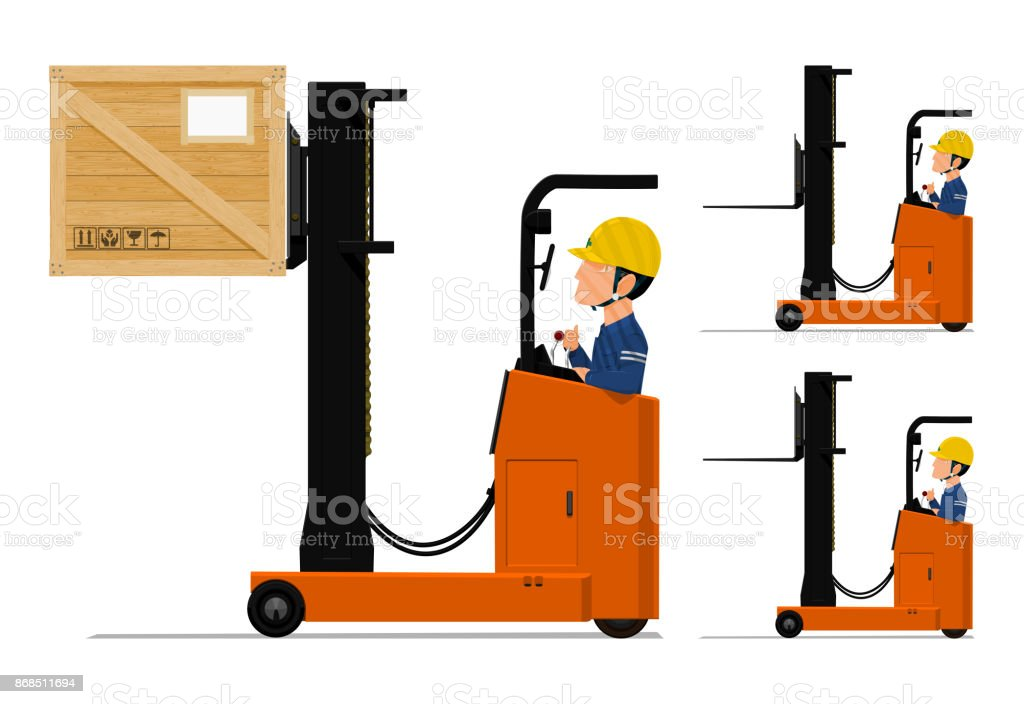 worker is using loader machine vector art illustration