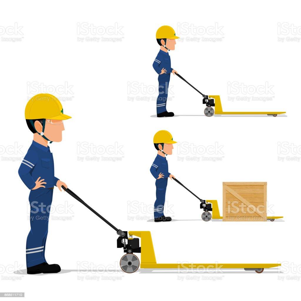 worker is using pallet truck vector art illustration
