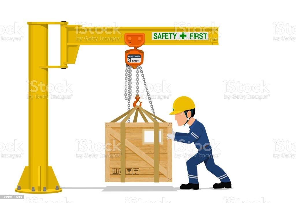 worker is using the jib crane vector art illustration