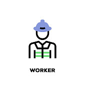 Worker Line Icon