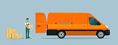Worker loads boxes in a cargo van. Vector flat style illustration.