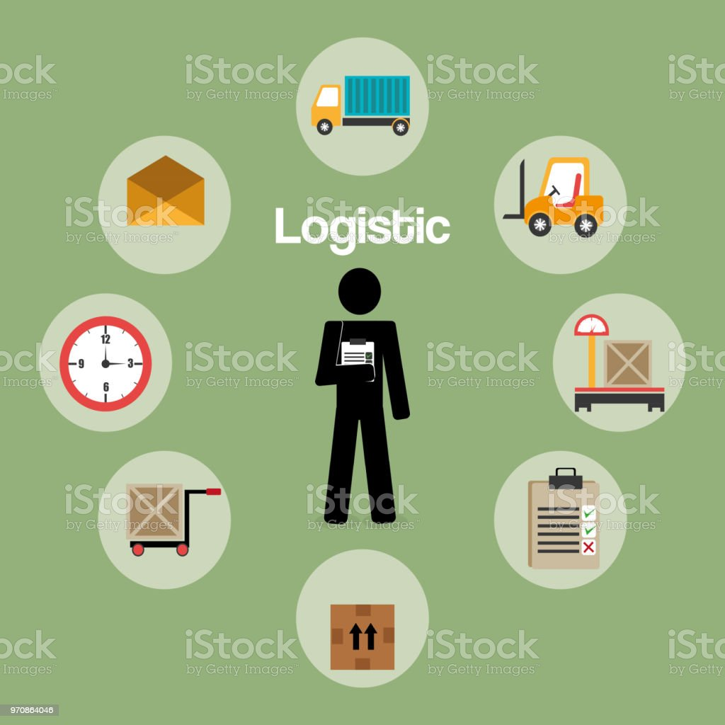 worker logistic service silhouette