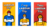 Worker man in construction helmet and inscription Happy labour day. 1 may greeting card set. Poster or banner vector illustration