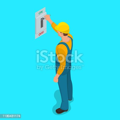 istock Worker man turns electric knife switch 1130431174