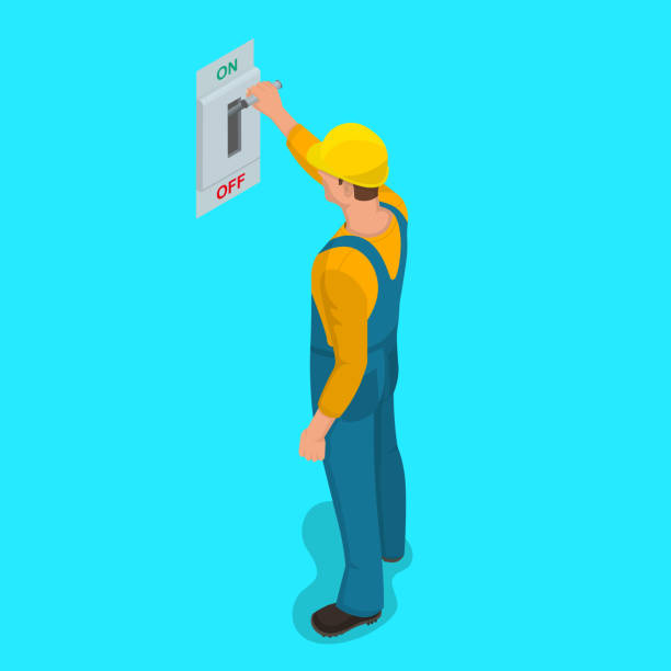"Worker man turns electric knife switch Worker man turns electric knife switch in the ""on"" position. Toggle switch. High voltage. Electrical circuit is enabled. Power station. Danger. Vector element of graphic design publicity event stock illustrations"