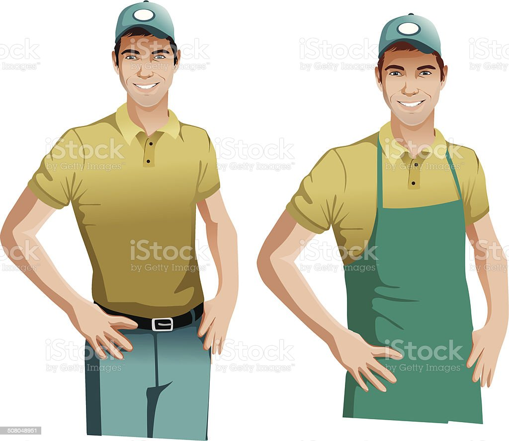 Worker man wearing blue apron and cap vector illustration royalty-free stock vector art