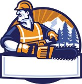 vector of worker man with the chainsaw