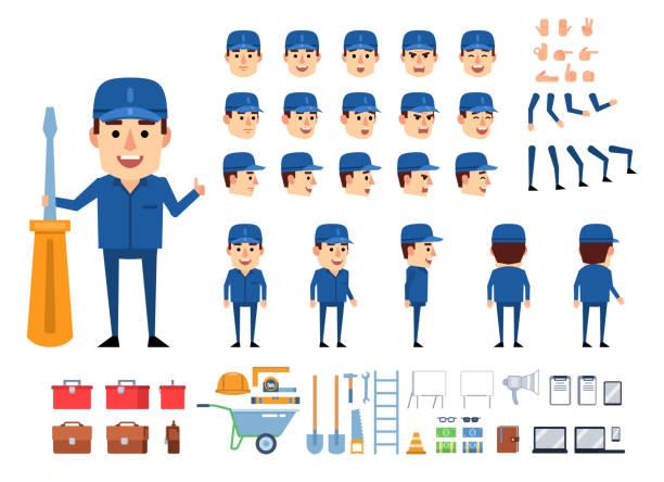 ilustrações, clipart, desenhos animados e ícones de trabalhador, mecânico, construtor no jogo uniforme azul da criação. crie sua própria pose, ação, animação. várias emoções, gestos, elementos de design - landscape creation kit