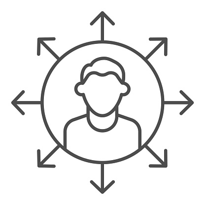 Worker multitasking thin line icon. Finance efficient person with many arrows symbol, outline style pictogram on white background. Business sign for mobile concept or web design. Vector graphics.