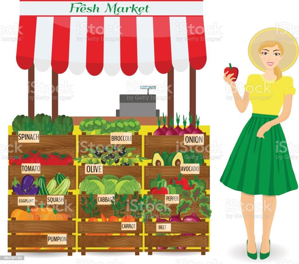 Travailleur de l'épicerie, debout devant la section avec des légumes. Travailleuse d'épicerie tenant un poivron. travailleur de lépicerie debout devant la section avec des légumes travailleuse dépicerie tenant un poivron – cliparts vectoriels et plus d'images de affaires libre de droits