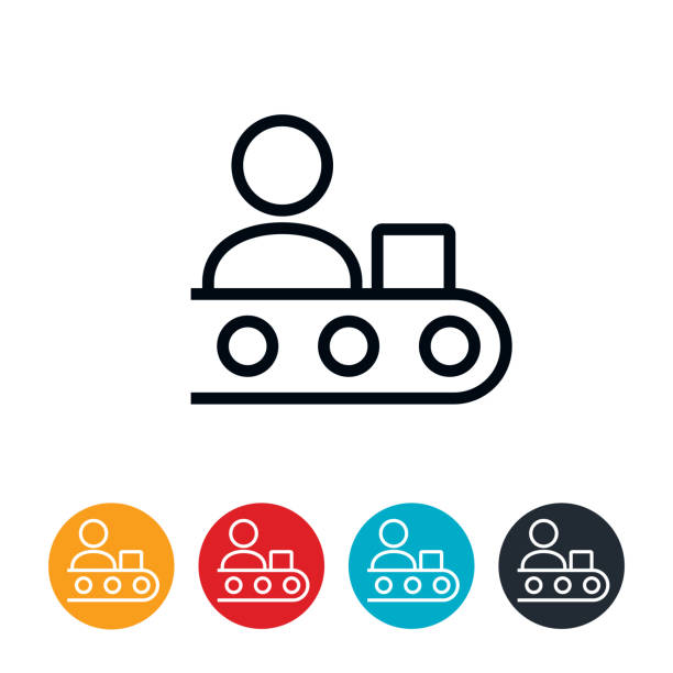 Worker on Assembly Line Icon vector art illustration