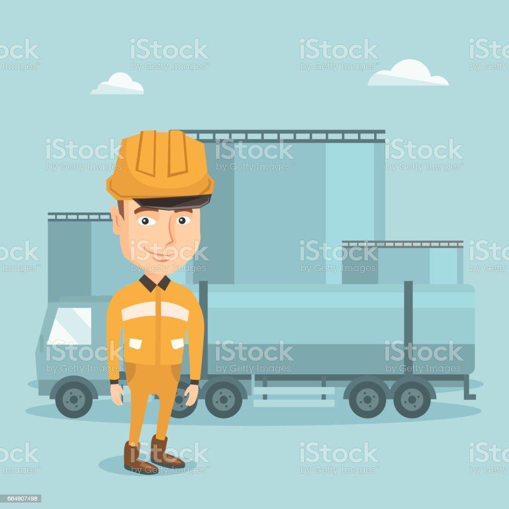 Worker on background of fuel truck and oil plant worker on background of fuel truck and oil plant - immagini vettoriali stock e altre immagini di affari finanza e industria royalty-free