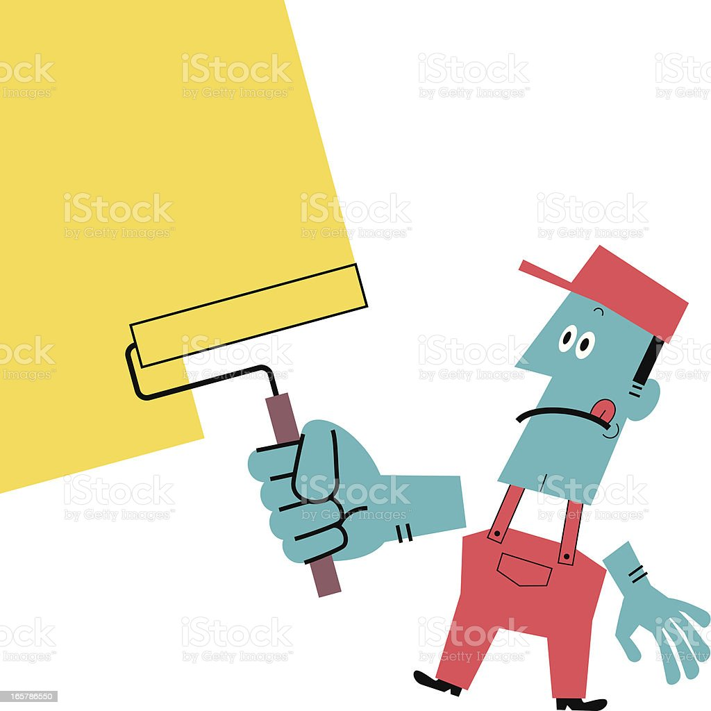 Worker Painting Wall Yellow With A Paint Roller Stock Vector Art ...