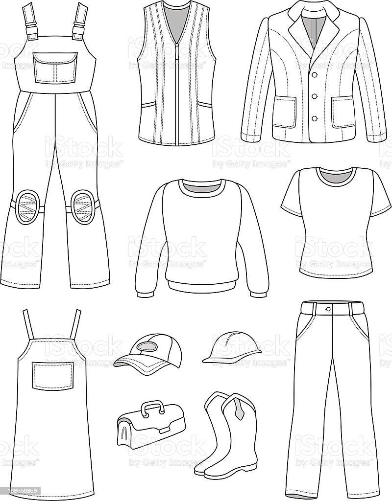 인부, 연관공 남자, 여자 패션 설정 royalty-free 인부 연관공 남자 여자 패션 설정 t 셔츠에 대한 스톡 벡터 아트 및 기타 이미지