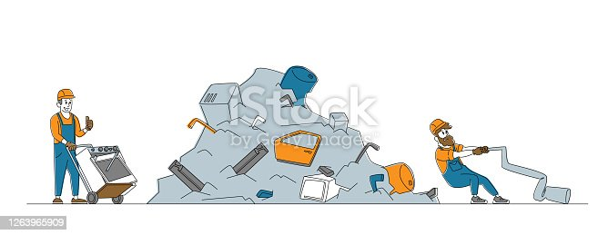 istock Worker Pulling Old Washing Machine on Manual Cart to Scrapmetal Dump. Metallic Scrap or Junk Reuse, Recycling Industry 1263965909