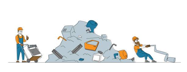 ilustraciones, imágenes clip art, dibujos animados e iconos de stock de trabajador tirando de la lavadora vieja en el carro manual a la basura de la chatarra. reutilización de chatarra o basura, industria del reciclaje - social media