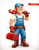 istock Worker. Repairman, cheerful character. 3d vector icon. 1060179050
