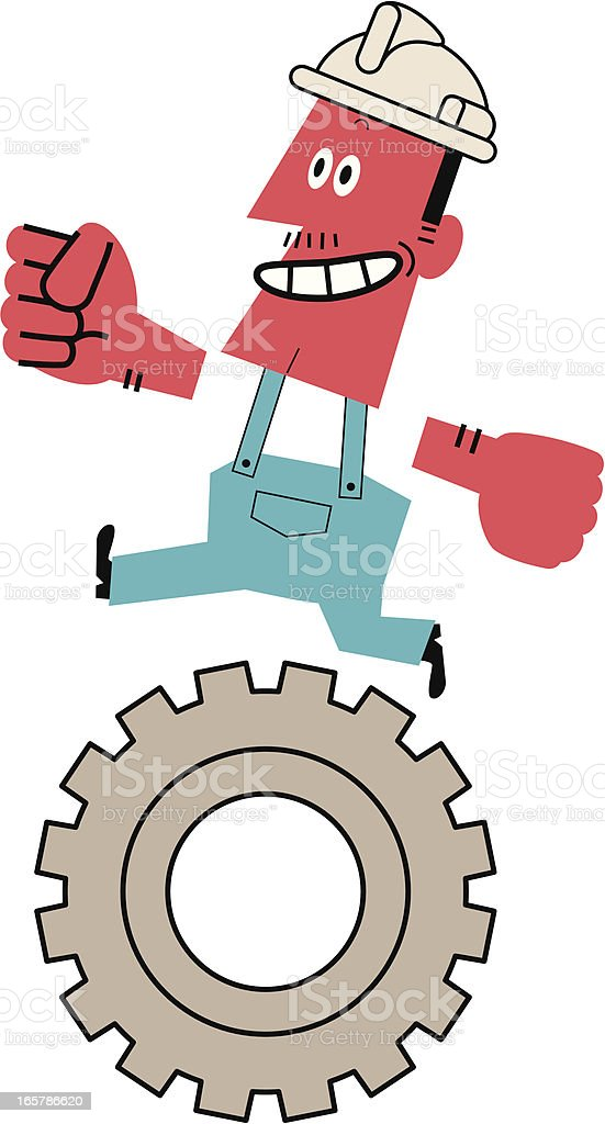 Worker Running on a Gear royalty-free stock vector art