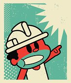 Vector illustration – Worker Screaming and Pointing at Something!