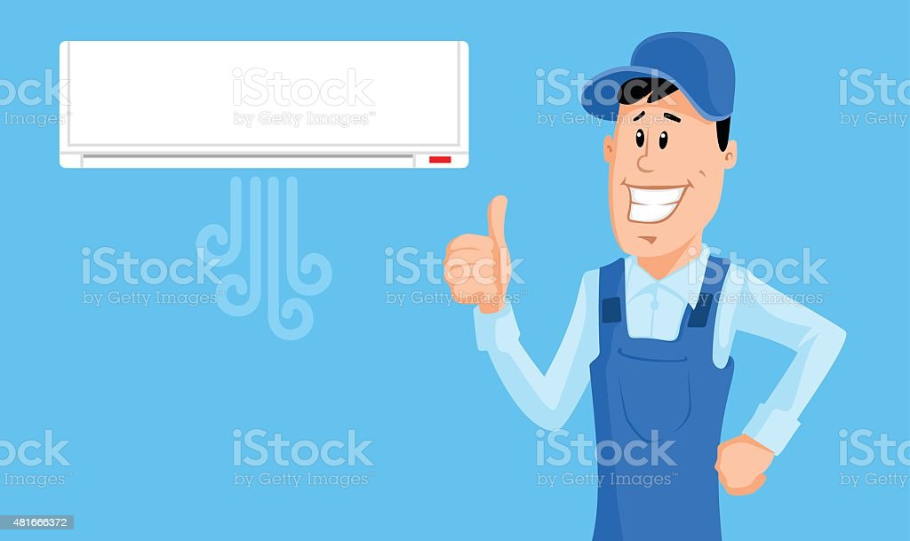 Worker set the air conditioner and show thumb up vector art illustration