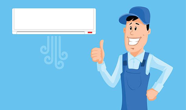 ilustrações, clipart, desenhos animados e ícones de trabalhador definir o ar-condicionado e mostrar polegar para cima - ar condicionado