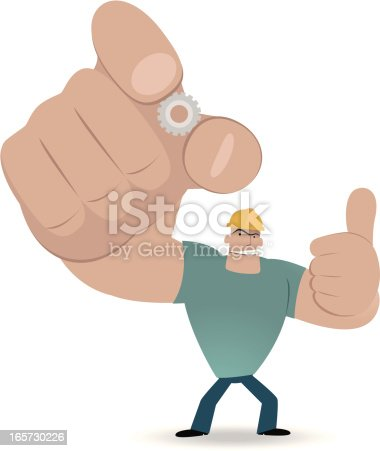 istock Worker showing a gear and gesturing thumbs up 165730226