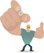 Vector illustration - Worker showing a gear and gesturing thumbs up.