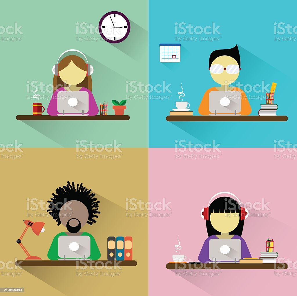 Worker sitting at the table with computer. vector art illustration