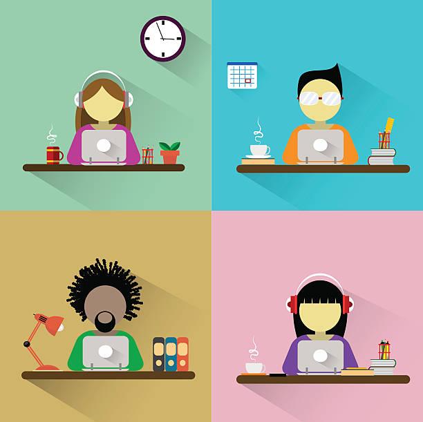 Trabajador sentado en la mesa con computadora. - ilustración de arte vectorial