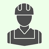Worker solid icon. Construction man with jacket and hardhat helmet glyph style pictogram on white background. House repair and renovation signs for mobile concept and web design. Vector graphics
