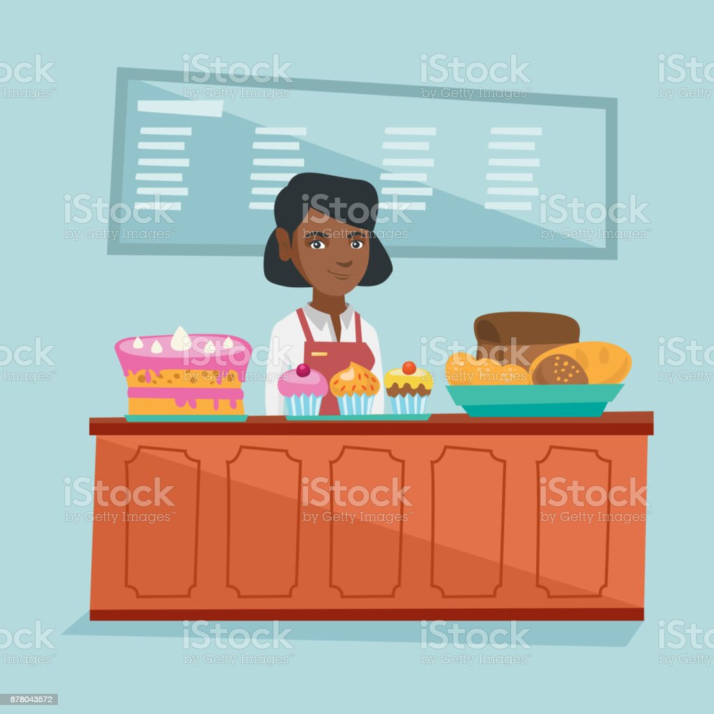 Worker standing behind the counter in the bakery vector art illustration