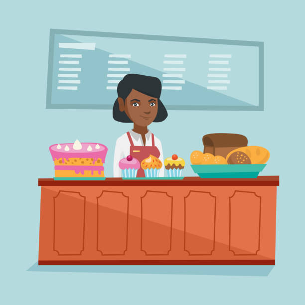 worker standing behind the counter in the bakery - small business owner stock illustrations