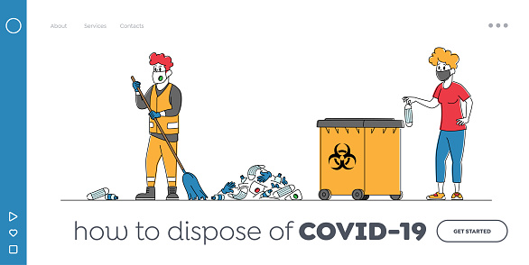 Worker Throw Garbage Landing Page Template. Male Janitor in Protective Suit Sweeping Street and Collecting Covid Waste