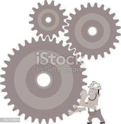 istock Worker Turn The Gears 165759804