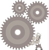 Vector illustration – Worker Turn The Gears.