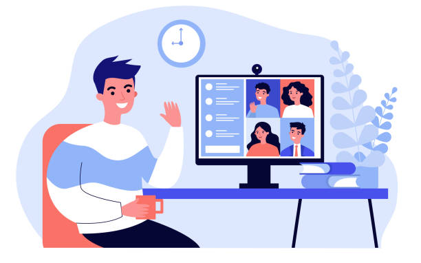 Worker using computer Worker using computer for collective virtual meeting and group video conference. Man at desktop chatting with friends online. Vector illustration for videoconference, remote work, technology concept meeting stock illustrations