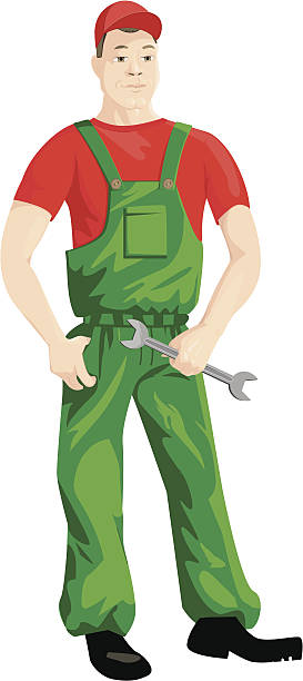 Worker He is mechanic or another can have a different speciality, for example. The fact that is the character of a working speciality. pipefitter illustrations stock illustrations