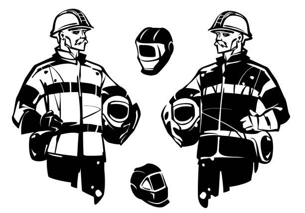 worker welder. welding helmets - old man mask stock illustrations, clip art, cartoons, & icons