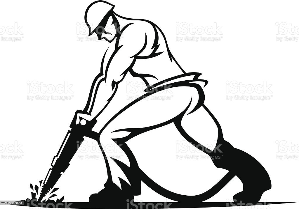 worker with a jackhammer vector art illustration