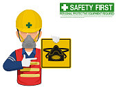 A worker with dust mask is presenting dust mask sign
