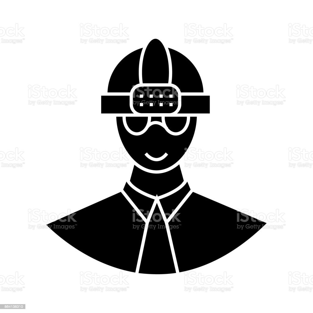worker with helmet  icon, vector illustration, sign on isolated background royalty-free worker with helmet icon vector illustration sign on isolated background stock vector art & more images of architect