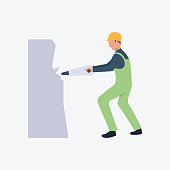 Worker with jackhammer flat icon. Miner, uniform, stone. Labor concept. Can be used for topics like mining, job, protection