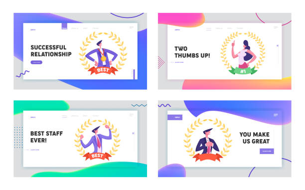 Worker with Most Great Results Website Landing Page Set. Business Man and Woman Best Employee Manager Inside of Golden Award Wreath and Winning Medal Web Page Banner. Cartoon Flat Vector Illustration Worker with Most Great Results Website Landing Page Set. Business Man and Woman Best Employee Manager Inside of Golden Award Wreath and Winning Medal Web Page Banner. Cartoon Flat Vector Illustration human limb stock illustrations