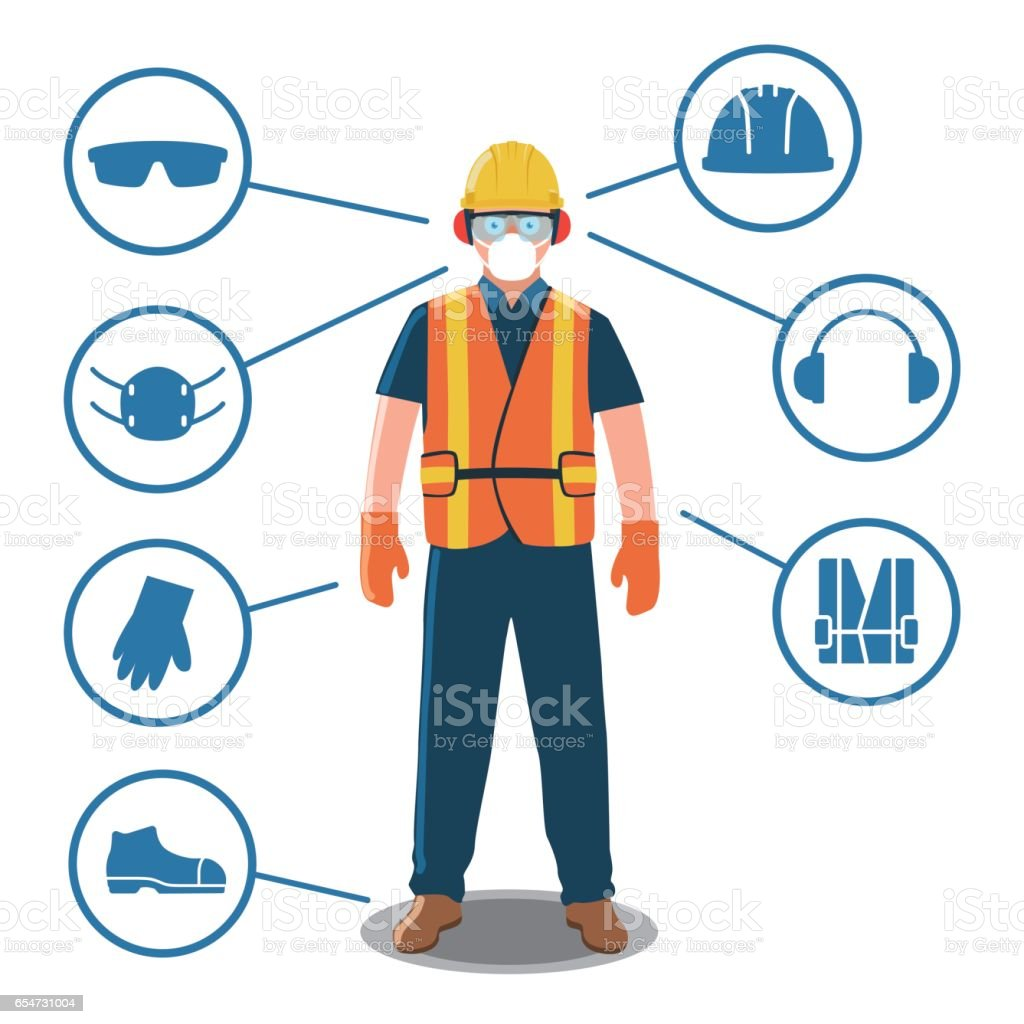 Worker with Personal Protective Equipment and Safety Icons vector art illustration