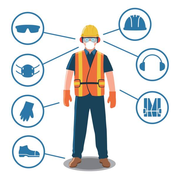 Worker with Personal Protective Equipment and Safety Icons - ilustración de arte vectorial