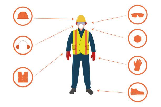 pracownik z osobistym sprzętem ochronnym i ikonami bezpieczeństwa na białym tle. - kask ochronny odzież ochronna stock illustrations