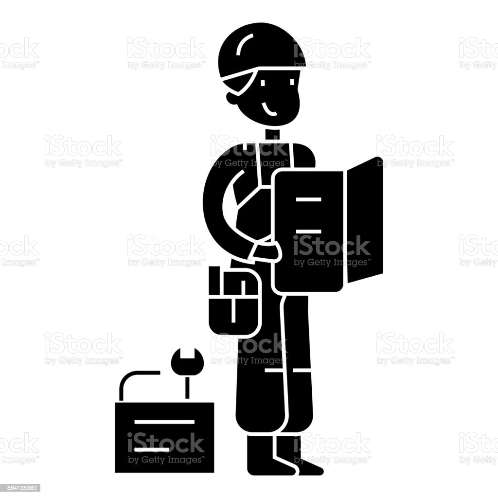 worker with plan and tools  icon, vector illustration, sign on isolated background royalty-free worker with plan and tools icon vector illustration sign on isolated background stock vector art & more images of adult